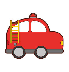 firefighter car drawing icon vector image vector image
