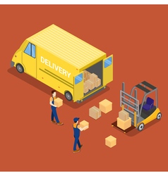 Isometric Delivery Car Cargo Industry Worker vector image vector image