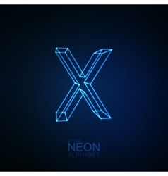 Neon 3D letter X vector image vector image
