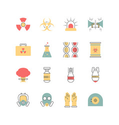 nuclear danger and safety icon set vector image