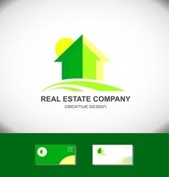 Real estate green house home logo icon vector