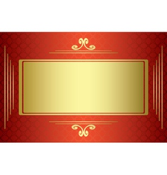 red and gold card with gold frame vector image vector image