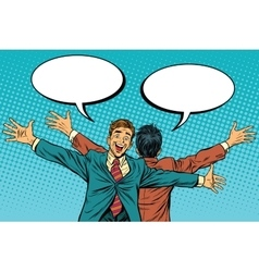 two businessman friend stand back vector image vector image