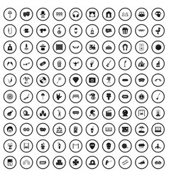 100 recreational activities icons set simple vector
