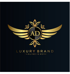 Ad letter initial with royal templateelegant vector