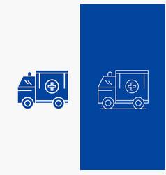 ambulance truck medical help van line and glyph vector image