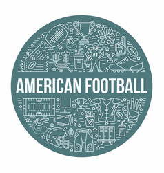American football banner with line icons of ball vector