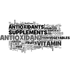 Antioxidant food sources text word cloud concept vector