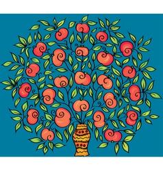 Apple twig in a vase vector