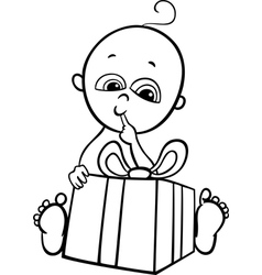 baboy with gift for coloring book vector image