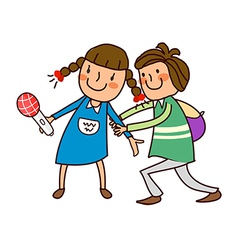 Boy holding hand of girl vector image