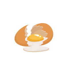 Broken egg with yolk cracked brown chicken egg on vector