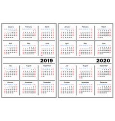 calendar template 2019 2020 vector image