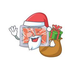Cartoon design frozen salmon santa with vector