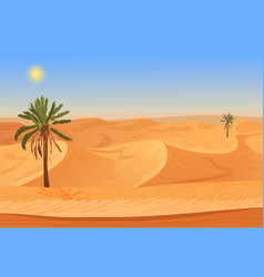 Cartoon nature sand desert landscape with palms vector