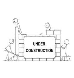 cartoon of group of masons or bricklayers vector image