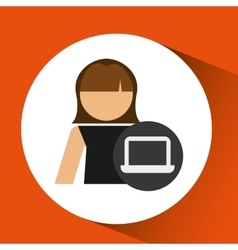 Character female laptop technology icon design vector