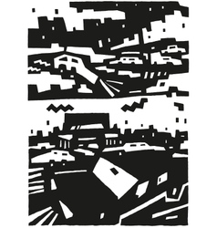 city and cars - abstract background vector image