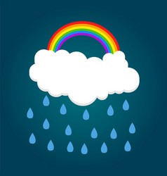cloud with rainbow and rain vector image