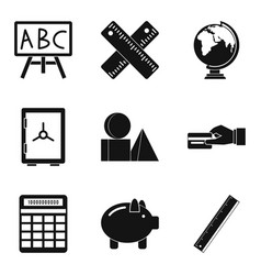 Cost calculation icons set simple style vector