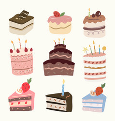 Cute dessert cake sticker bakery element graphic vector