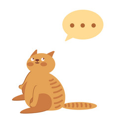 cute red cat thinking vector image