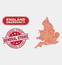 Danger and emergency collage england map and vector