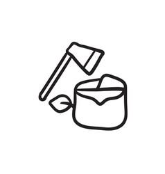 Deforestation sketch icon vector