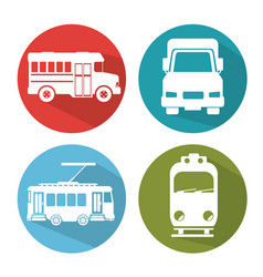 Differents transport vehicle icons vector