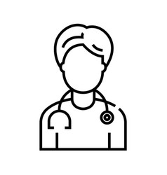 doctor line icon concept sign outline vector image
