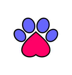 dog foot abstract love pets logo icon vector image
