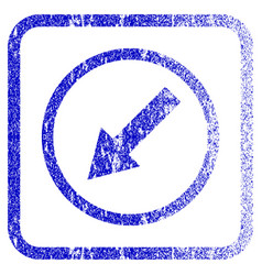 Down-left rounded arrow framed textured icon vector