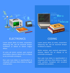 Electronics and coding lessons promotional poster vector