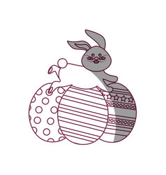 Figure decorated eggs easter and rabbit running vector