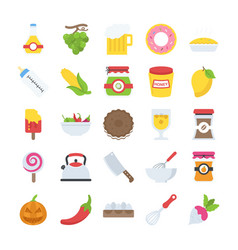 Flat icons pack of food and drinks vector