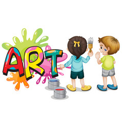 font design for word art with two kids painting vector image
