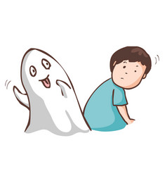 Funny ghost haunt the man vector