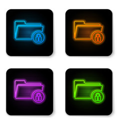 glowing neon folder and lock icon isolated on vector image