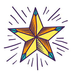 gold star icon hand drawn style vector image