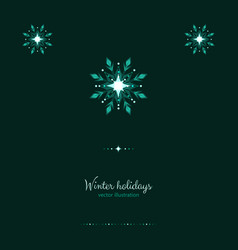 Green shine holidays ice frost snowflakes banner vector