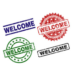 grunge textured welcome seal stamps vector image