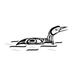 haida duck tattoo ornament in haida style isolat vector image