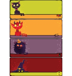 Halloween monsters banners set vector