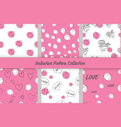 hand drawn doodle heart valentine pattern vector image