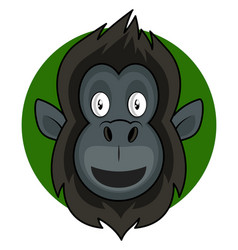 happy cartoon gorilla on white background vector image