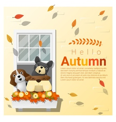 Hello autumn background with dogs vector image