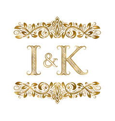 i and k vintage initials logo symbol the letters vector image