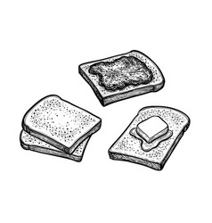 Ink sketch toasts with butter and jam vector