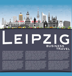 leipzig germany city skyline with gray buildings vector image