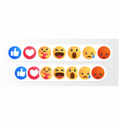 Like round yellow cartoon button empathetic emoji vector